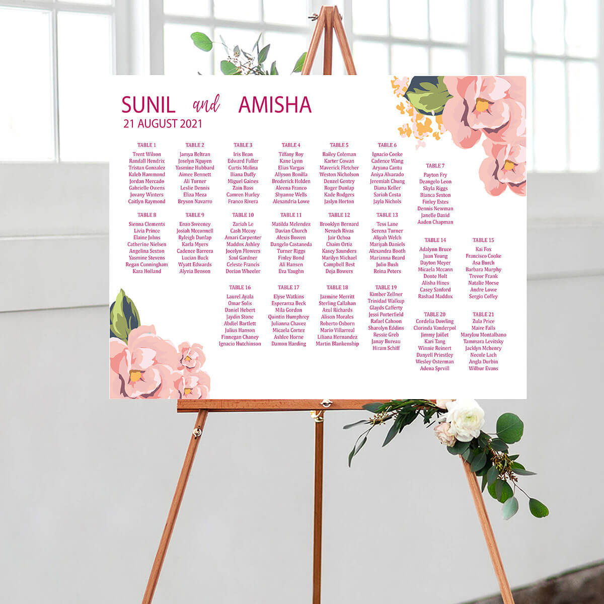 Floral Wedding Seating Chart 1