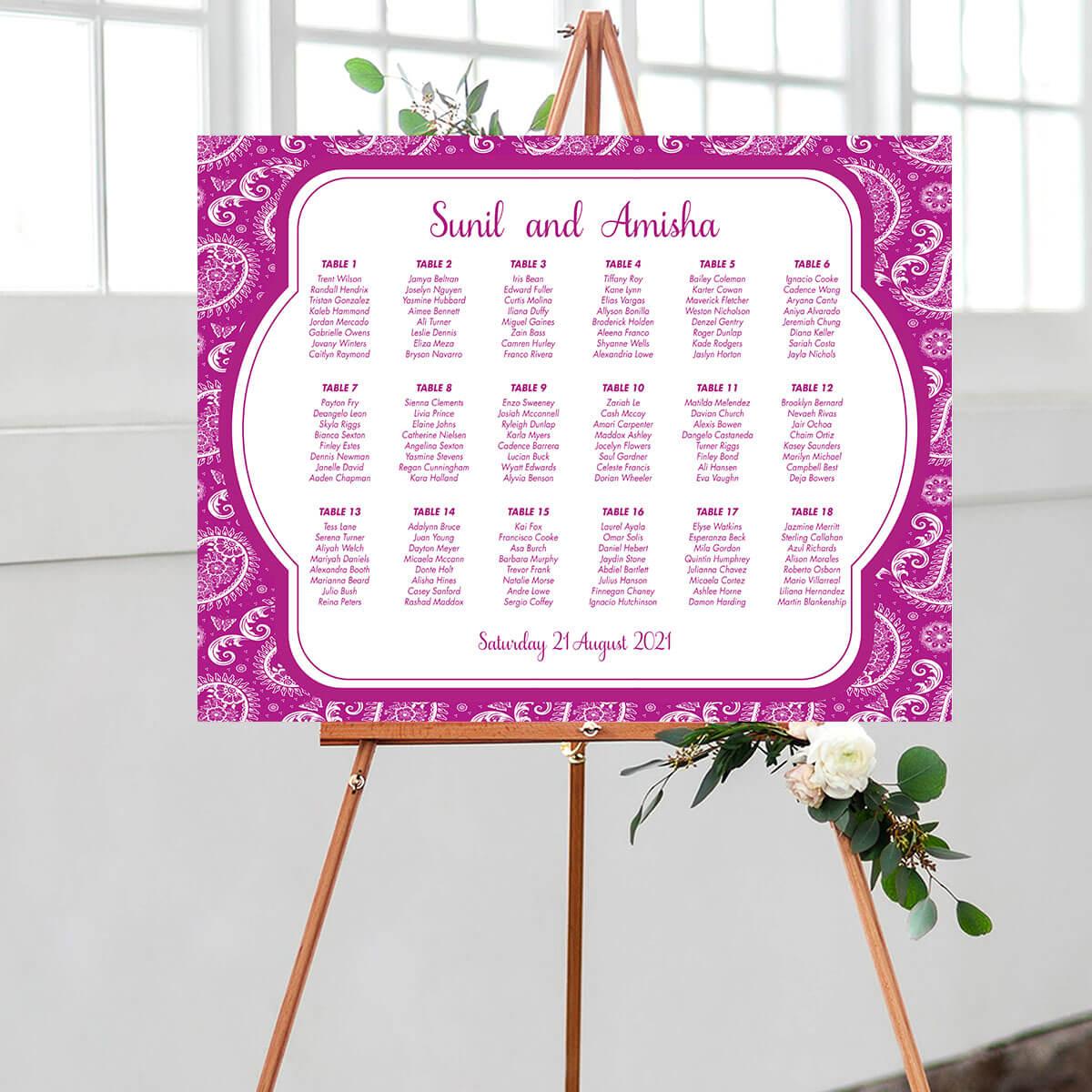 Paisley Wedding Seating Chart Purple 1