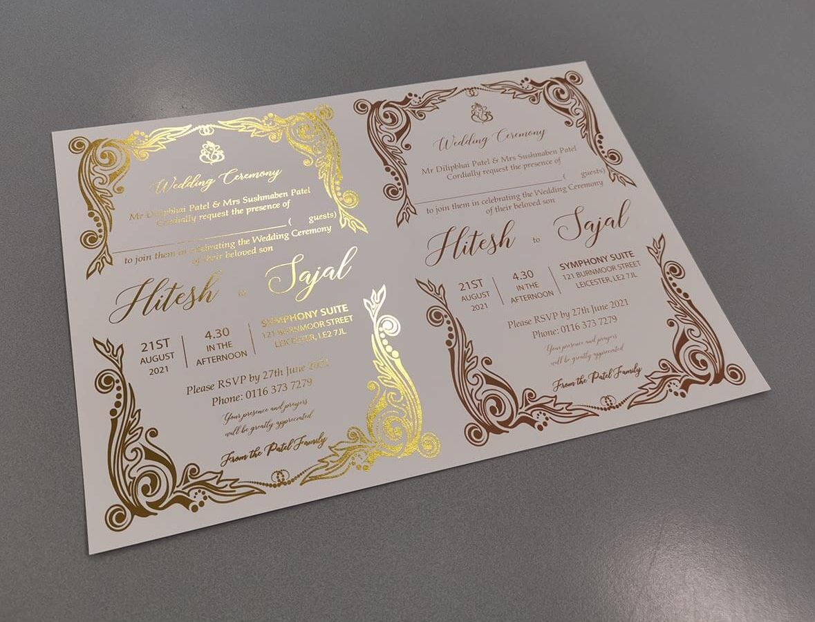 comparison of gold foil printing and digital gold printing on white card